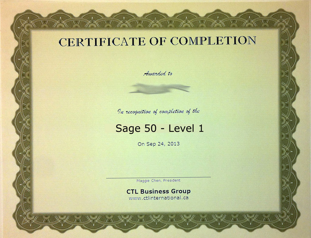 Sage 50, Level 1 Training Certificate