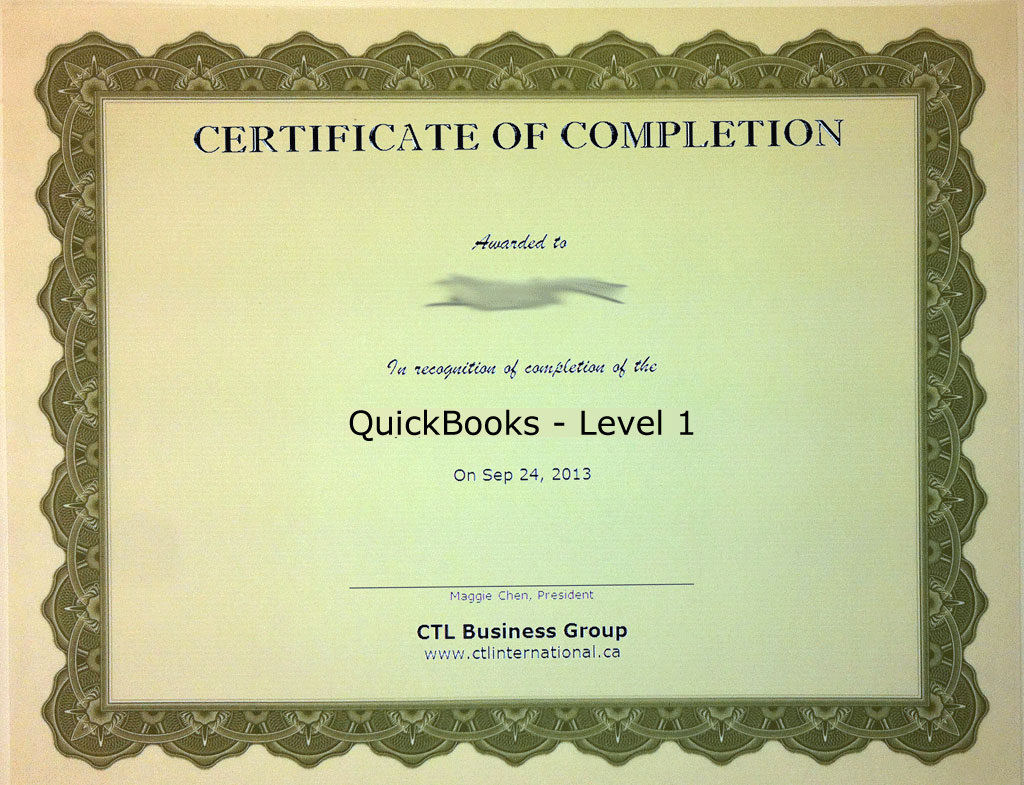 QuickBooks, Level 1 Training Certificate